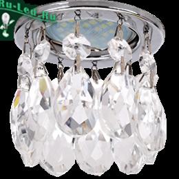 белые светильники на белом потолке - это настоящее украшение для любой комнаты Ecola MR16 CR1006 GU5.3 Glass Стекло Круг с каплевидными хруст. на прямом подвесе Прозрачный / Хром 84x100