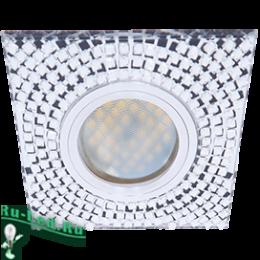 Квадратные светильники в натяжной потолок не деформируют подвесные и натяжные потолки Ecola MR16 DL1658 GU5.3 Glass Стекло Квадрат с прозр. мозаикой/фон зерк./центр.часть хром 28x95x95