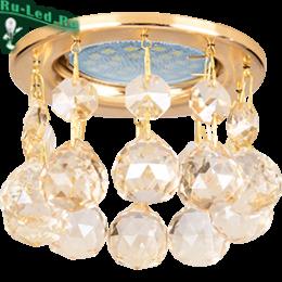 точечные светильники для потолков придадут помещению аристократичный стиль и нарядный облик Ecola MR16 CR1002 GU5.3 Glass Стекло Круг с большими хруст. на прямом подвесе Тонированный / Золото 84x90