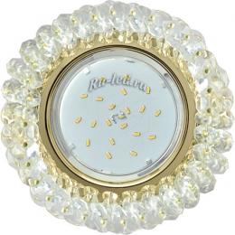 Точечные светильники от Экола gx53 н4 создают ощущение роскоши и достатка Ecola GX53 H4 Glass Круглый с хрусталиками Прозрачный /Золото 56x120 (к+)