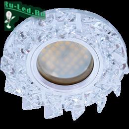 светильники ecola mr16 качественные и экстраординарные по дизайну устройства Ecola MR16 DL1661 GU5.3 Glass Стекло Круг с крупными прозр. стразами Елочка/фон зерк./центр.часть хром 42x95