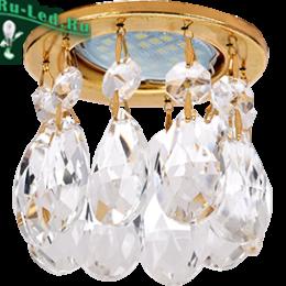 точечные светильники под натяжной потолок добавят изысканность и шик любому помещению. Ecola MR16 CR1006 GU5.3 Glass Стекло Круг с каплевидными хруст. на прямом подвесе Прозрачный / Золото 84x100