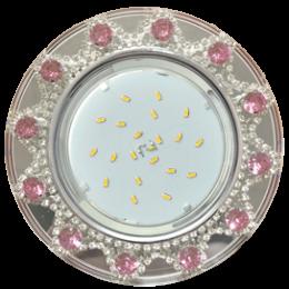 Ecola GX53 H4 5360 Glass Круг с  прозр.и розов. стразами Корона (оправа хром)/фон зерк../центр.часть хром 52x123 (к+)