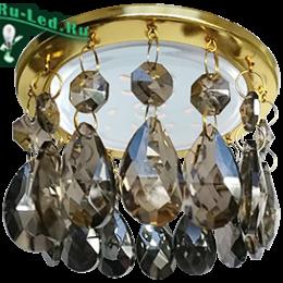 светильник светодиодный ecola gx53 купить дешево через интернет магазин Ecola GX53 H4 5350 Glass Круг с каплевидными хруст. на прямом подвесе Тонированный / Золото 102x105