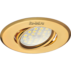Встроенные поворотные светильники Ecola MR16 DH09 GU5.3 Светильник встр. поворотный плоский (скрытый крепеж лампы) Золото 25x90 (кd74)