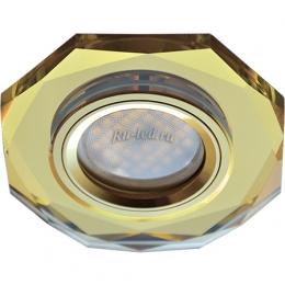точечные светильники стеклянные Ecola MR16 DL1652 GU5.3 Glass Стекло 8-угольник с прямыми гранями Золото / Золото 25x90 (кd74)