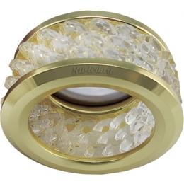 светодиодные светильники для потолков цена Ecola MR16 DL1655 GU5.3 встр. круглый с хруст.(3 ряда) и ободком - Прозрачный / Золото 63x85 (кd74)