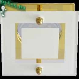 g 5.3 mr16 светильник отлично впишется в дизайн уютного кафе Ecola MR16 DL200 GU5.3 Glass Квадрат со стеклом Прозрачный и Матовый / Золото 45x77x77