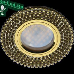 светильник светодиодный mr16 красивое дополнение любой квартиры Ecola MR16 DL1662 GU5.3 Glass Стекло Круг с прозр.стразами (оправа золото)/фон зерк./центр.часть золото 25x93