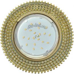 Встраиваемый светильник ванны Ecola GX53 H4 Glass Круг с прозр.стразами (оправа золото)/фон зерк./центр.часть золото 40x120 (к+)