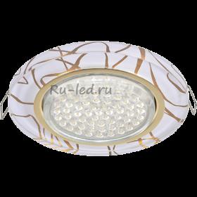 светильники под натяжной потолок Ecola GX53 H4 Glass Стекло Круг золото - золото на белом 38x126 (к+)