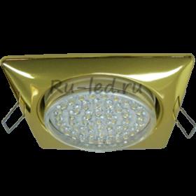 офисные светодиодные светильники потолочные накладные Ecola GX53 H4 Square светильник квадратный без рефл. Золото 107x41 (к+)