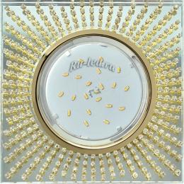 Светильники потолочные встроенные квадратные Ecola GX53 H4 Glass Квадрат с прозр.стразами (оправа золото)/фон зерк./центр.часть золото 40x123x123 (к+)