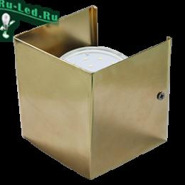 виды светильников на стену отличаются высоким качеством Ecola GX53-N51 светильник настенный бра прямоугольный золото 1* GX53 100х100х90 (1 из цв. уп. по 2)