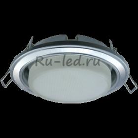 светильники потолочные встроенные светодиодные круглые Ecola GX53 H4 светильник встраив. без рефл. 2 цв. серебро-хром-серебро 38х106 (к+)