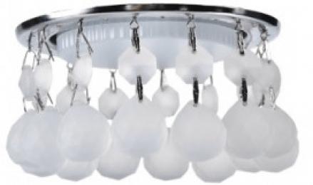 Ecola GX53 H4 5346 Glass Круглый с большими хрусталиками на прямом подвесе  Матовый /Хром 90x110 (к+)