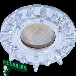 светильник встраиваемый круглый led для каждой хранительнице домашнего очага Ecola MR16 DL1661 GU5.3 Glass Стекло Круг с квадратными прозрачными стразами /фон зерк./центр.часть хром 42x95