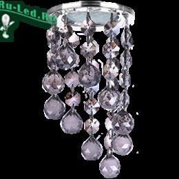 """недорогие светильники на потолок от Ecola в интернет магазине без лишних затрат Ecola MR16 CR1007 GU5.3 Glass Стекло Круг с большими хруст. на подвесе """"под скос"""" Черный / Хром 84x170"""