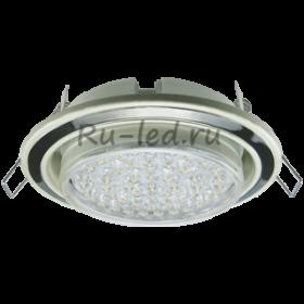 светильник светодиодный потолочный встраиваемый круглый Ecola GX53 H4 светильник встраив. без рефл. 2 цв. жемчуг-черный хром-жемчуг 38х106 (к+)