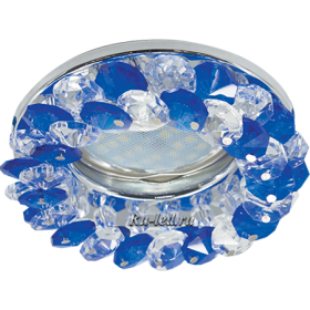 точечные светильники Экола Ecola Light MR16 CD4141 GU5.3 Светильник встр. круглый с хрусталиками Прозрачный и Голубой/Хром 50x90 (кd74)