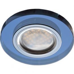 точечные светильники гипсокартон Ecola MR16 DL1650 GU5.3 Glass Стекло Круг Голубой / Хром 25x95 (кd74)