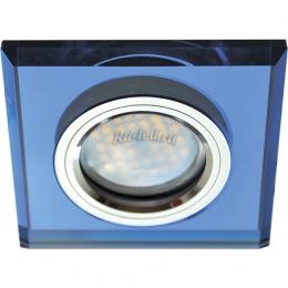 магазин точечных светильников Ecola MR16 DL1651 GU5.3 Glass Стекло Квадрат скошенный край Голубой / Хром 25x90x90 (кd74)