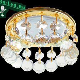 потолок с точечными светильниками в спальне создает расслабляющую атмосферу и успокаивает  Ecola GX53 H4 5346 Glass Круглый с большими хрусталиками на прямом подвесе Прозрачный /Золото 90x110 (к+)