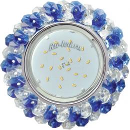 встроенные светодиодные светильники в потолок Ecola GX53 H4 Glass Круглый с хрусталиками Прозрачный и Голубой /Хром 56x120 (к+)