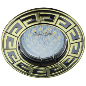 встроенные светильники 220 Ecola MR16 DL110А GU5.3 Светильник встр. литой Антик Черный Хром/Золото 24x86 (кd74)
