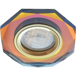 светильник встраиваемый светодиодный led Ecola MR16 DL1652 GU5.3 Glass Стекло 8-угольник с прямыми гранями Мультиколор / Золото 25x90 (кd74)