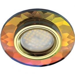 светильники под натяжные потолки купить Ecola MR16 DL1654 GU5.3 Glass Стекло Круг граненый Мультиколор / Золото 25x90 (кd74)