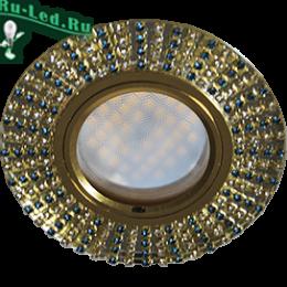 светильники mr16 gu 5.3 не требуют никаких особых навыков для крепежа Ecola MR16 DL1662 GU5.3 Glass Стекло Круг с прозр.и бирюз. стразами (оправа золото)/фон зерк./центр.часть золото 25х93