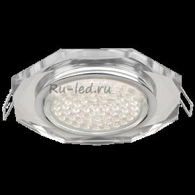 встраиваемые светильники для натяжного потолка Ecola GX53 H4 Glass Стекло 8-угольник с прямыми гранями хром - хром (зеркальный) 38x133 (к+)