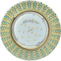 круглые светодиодные светильники потолочные Ecola GX53 H4 Glass Круг с прозр.и бирюз. стразами (оправа золото)/фон зерк./центр.часть золото 40x120 (к+)