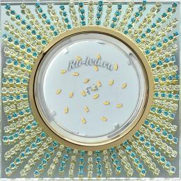 встраиваемый квадратный светильник Ecola GX53 H4 Glass Квадрат с прозр.и бирюз. стразами (оправа золото)/фон зерк../центр.часть золото 40x123x123 (к+)
