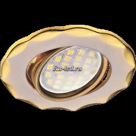 точечные светильники купить Ecola MR16 DH07 GU5.3 Светильник встр. поворотный Звезда (скрытый крепеж лампы) Сатин-Хром/Золото 25x88 (кd74)