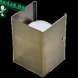 купить светильник на стену, чтобы удачно организовать местное освещение Ecola GX53-N52 светильник настенный бра прямоугольный черненая бронза 2* GX53 100х140х90 (1 из цв. уп. по 2)