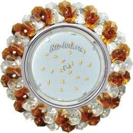 встраиваемый подвесной светильник Ecola GX53 H4 Glass Круглый с хрусталиками Прозрачный и Янтарь /Хром 56x120 (к+)