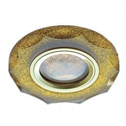 встроенные круглые светильники Ecola MR16 DL1653 GU5.3 Glass Стекло Круг с вогнутыми гранями Золотой блеск / Золото 25x90 (кd74)