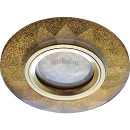 светильники для натяжных потолков Ecola MR16 DL1654 GU5.3 Glass Стекло Круг граненый Золотой блеск / Золото 25x90 (кd74)