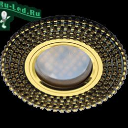 светильники потолочные встроенные круглые для времяпрепровождения всех членов семьи Ecola MR16 DL1662 GU5.3 Glass Стекло Круг с прозр.стразами (оправа золото)/фон черный./центр.часть золото 25x93