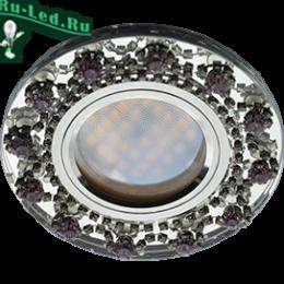 светодиодные led mr16 gu 5.3 светильники это абсолютное совершенство Ecola MR16 DL1660 GU5.3 Glass Стекло Круг с прозр.и аметист. стразами Корона (оправа хром)/фон зерк./центр.часть хром 28x93