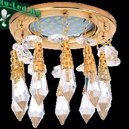 """купить светильники на потолок в интернет магазине существенно позволят сэкономить Ecola MR16 CR1004 GU5.3 Glass Стекло Круг """"Восточный стиль"""" на коротком подвесе Прозрачный / Золото 84x100"""