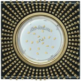 Квадратные встроенные светильники Ecola GX53 H4 Glass Квадрат с прозр.стразами (оправа золото)/фон черный./центр.часть золото 40x123x123 (к+)
