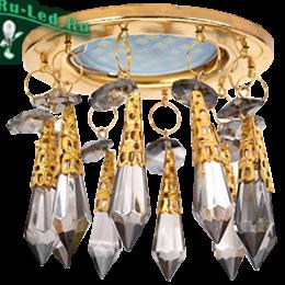 """точечные светильники для натяжных потолков фото представлены в каталоге нашего интернет магазина Ecola MR16 CR1004 GU5.3 Glass Стекло Круг """"Восточный стиль"""" на коротком подвесе Тонированный / Золото 84x100"""