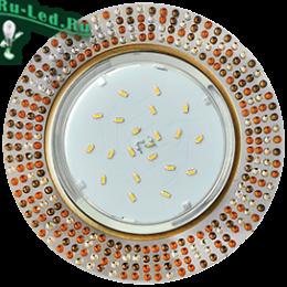 купить встроенный светильник в потолок для изысканных, гламурных и утонченных интерьеров Ecola GX53 H4 5319 Glass Круг с прозр.-янтарной мозаикой/фон зерк../центр.часть черненая бронза 40x123x123 (к+)