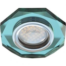 led встраиваемый светильник потолок Ecola MR16 DL1652 GU5.3 Glass Стекло 8-угольник с прямыми гранями Изумруд / Хром 25x90 (кd74)