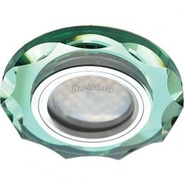 Точечные led светильники потолочные Ecola MR16 DL1653 GU5.3 Glass Стекло Круг с вогнутыми гранями Изумруд / Хром 25x90 (кd74)