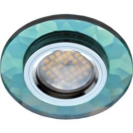 Led светильники потолочные встраиваемые Ecola MR16 DL1654 GU5.3 Glass Стекло Круг граненый Изумруд / Хром 25x90 (кd74)