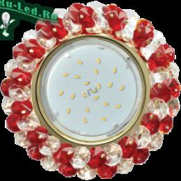 светильник встраиваемый gx53 под лампу gx53 специально для ценителей красивых и оригинальных вещей Ecola GX53 H4 Glass Круглый с хрусталиками Прозрачный и Рубин /Хром 56x120 (к+)